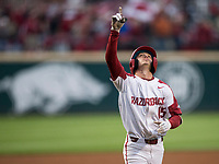 NWA Democrat-Gazette/BEN GOFF @NWABENGOFF<br /> Casey Martin, Arkansas shortstop, runs the bases after hitting a solo home run in the 1st inning vs LSU Thursday, May 9, 2019, at Baum-Walker Stadium in Fayetteville.