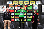 Race leader Maximilian Schachmann (GER) Bora-Hansgrohe retakes the Green Jersey on the podium at the end of Stage 4 of the 78th edition of Paris-Nice 2020, and individual time trial running 15.1km around Saint-Amand-Montrond, France. 11th March 2020.<br /> Picture: ASO/Fabien Boukla | Cyclefile<br /> All photos usage must carry mandatory copyright credit (© Cyclefile | ASO/Fabien Boukla)