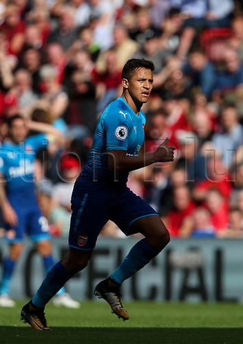 27th August 2017, Anfield, Liverpool, England; EPL Premier League football, Liverpool versus Arsenal; Alexis Sanchez of Arsenal bursts out of the shade and into the sunlight as Arsenal chase a 1-0 deficit