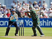 CB40 Cricket - Notts Outlaws V Scottish Saltires - Trent Bridge Nottingham - Notts (and England) batsman Samit Patel hits out at a rising ball on his way to making 82 off 76 balls - Saltires keeper is Craig Wallace - 21.7.12 - 07702 319 738 - clanmacleod@btinternet.com - www.donald-macleod.com