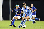 18 October 2012: UNC's Amber Brooks (22) and Duke's Kim DeCesare (19). The University of North Carolina Tar Heels defeated the Duke University Blue Devils 2-0 at Koskinen Stadium in Durham, North Carolina in a 2012 NCAA Division I Women's Soccer game.
