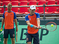 Moscow, Russia, 13 th July, 2016, Tennis,  Davis Cup Russia-Netherlands, Training Dutch team, captain Jan Siemerink  with Wesley Koolhof<br /> Photo: Henk Koster/tennisimages.com