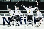 Solna 2014-03-15 Bandy SM-final Damer Kareby IS - AIK  :  <br /> AIK spelare jublar efter att AIK:s Linnea Linn&eacute;a Larsson ha gjort 1-1<br /> (Foto: Kenta J&ouml;nsson) Nyckelord:  SM SM-final final dam damer Kareby AIK jubel gl&auml;dje lycka glad happy
