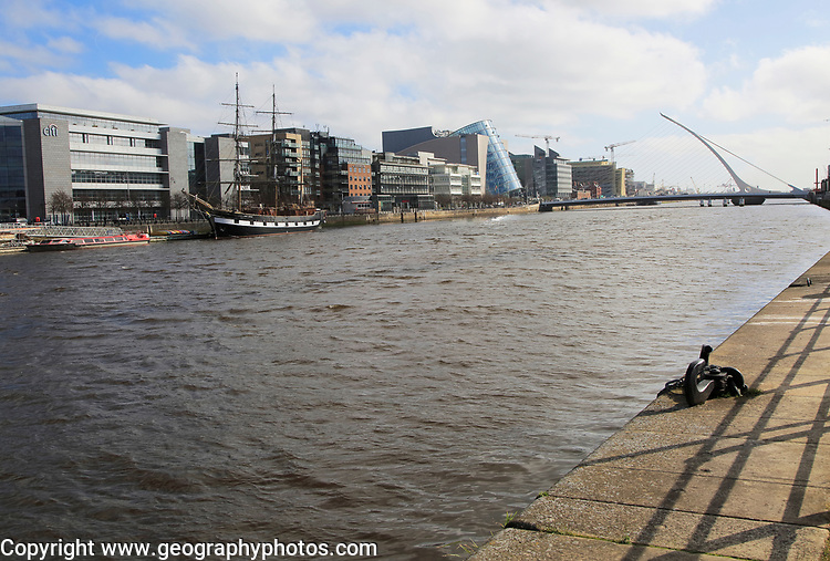 River Liffey looking towards Samuel Beckett bridge, Dublin Docklands, Ireland, Republic of Ireland