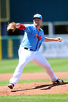 Pawtucket Red Sox pitcher Brian Johnson (38) during a game versus the Durham Bulls at McCoy Stadium in Pawtucket, Rhode Island on May 3, 2015.  (Ken Babbitt/Four Seam Images)