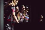 Mia Radotic (CRO) and Tanja Elsner (SLO) BTC City Ljubljana at the Team Presentation of La Fleche Wallonne Femmes 2018 running 118.5km from Huy to Huy, Belgium. 17/04/2018.<br /> Picture: ASO/Thomas Maheux | Cyclefile.<br /> <br /> All photos usage must carry mandatory copyright credit (&copy; Cyclefile | ASO/Thomas Maheux)