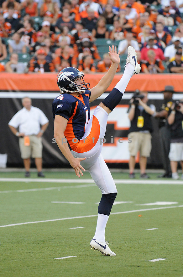 BRYAN COLQUITT, of the Denver Broncos  in action during the Broncos game against the Cincinnati Bengals at Paul Brown Stadium in Cincinnati, OH.  on August 20, 2010.  The Bengals beat the Broncos 22-9 in the second week of preseason games...