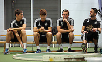 Pictured L-R: Federico fernandez, Ki Sung Yueng, Gylfi Sigurdsson and Lukasz Fabianski Tuesday 30 June 2015<br /> Re: Pre-season assessment of Swansea City FC players on the grounds of Swansea University, south Wales, UK