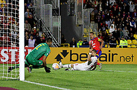 PASTO-COLOMBIA, 26-02-2020: Camilo Ayala de Deportivo Pasto (COL) y Yerko Urra, Diego Oryazun de Club Deportivo Huachipato (CHL) disputan el balon, durante partido de vuelta entre Deportivo Pasto (COL) y Club Deportivo Huachipato (CHL) por la Copa Conmebol Sudamericana 2020 jugado en el estadio Departamental Libertad de la ciudad de Pasto. / Camilo Ayala of Deportivo Pasto (COL) and Yerko Urra, Diego Oryazun of Club Deportivo Huachipato (CHL) figth for the ball, during a match of the second leg between Deportivo Pasto (COL) and Club Deportivo Huachipato (CHL) for the Conmebol Sudamaricana Cup 2020 played at the Departamental Libertad Stadium in Pasto city. / Photo: VizzorImage / Leonardo Castro / Cont.