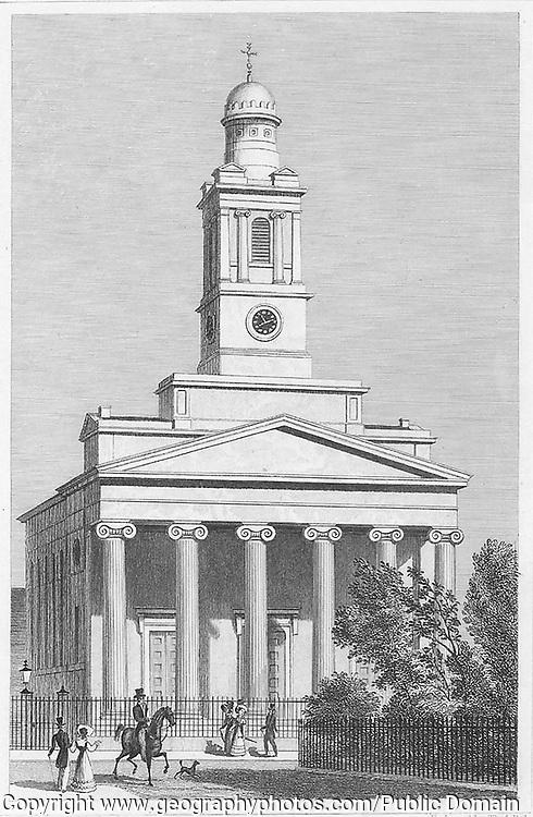 Saint Peter church Eaton Square Pimlico, engraving from 'Metropolitan Improvements, or London in the Nineteenth Century' London, England, UK 1828 , drawn by Thomas H Shepherd