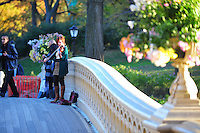 Nov. 12, 2010 - New York City, NY - A woman plays a violin on a beautiful November afternoon on the Bow Bridge in Central Park  in New York City November 12, 2010. (Photo by Alan Greth)