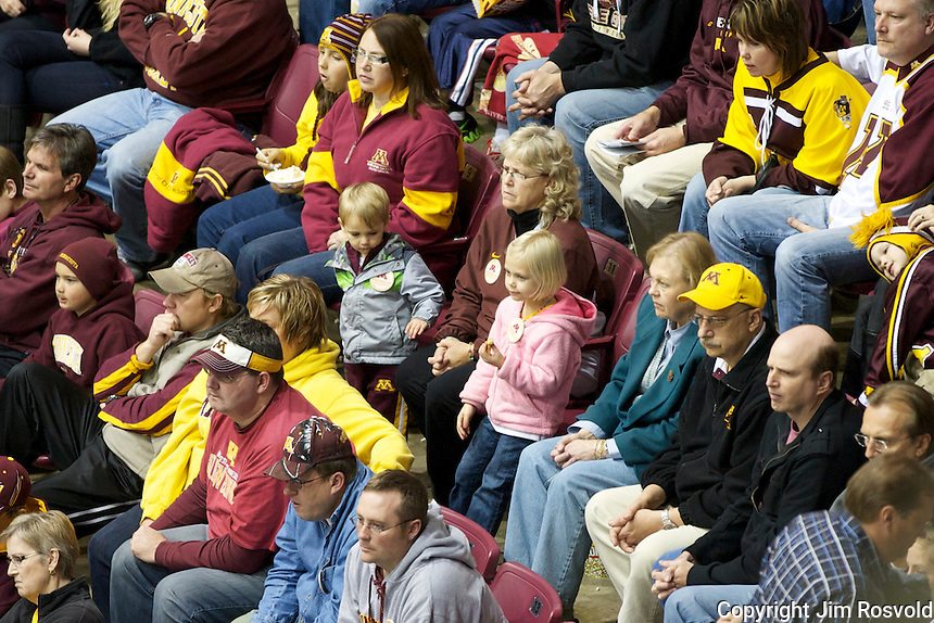 21 Oct 11: Minnesota fans. The University of Minnesota Golden Gophers host the University of Vermont Catamounts in a non-conference matchup at Mariucci Arena in Minneapolis, MN.