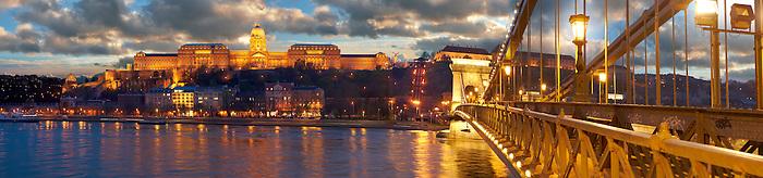 Szechenyi Lanchid Castle district at night. Budapest Hungary.