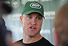 Josh McCown #15 speaks with the media after a day of New York Jets Training Camp at the Atlantic Health Jets Training Center in Florham Park, NJ on Tuesday, Aug. 8, 2017.