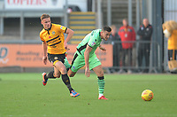 Colchester United's Ben Dickenson under pressure from Newport County's Cameron Pring<br /> <br /> Photographer Kevin Barnes/CameraSport<br /> <br /> The EFL Sky Bet League Two - Newport County v Colchester United - Saturday 17th November 2018 - Rodney Parade - Newport<br /> <br /> World Copyright © 2018 CameraSport. All rights reserved. 43 Linden Ave. Countesthorpe. Leicester. England. LE8 5PG - Tel: +44 (0) 116 277 4147 - admin@camerasport.com - www.camerasport.com