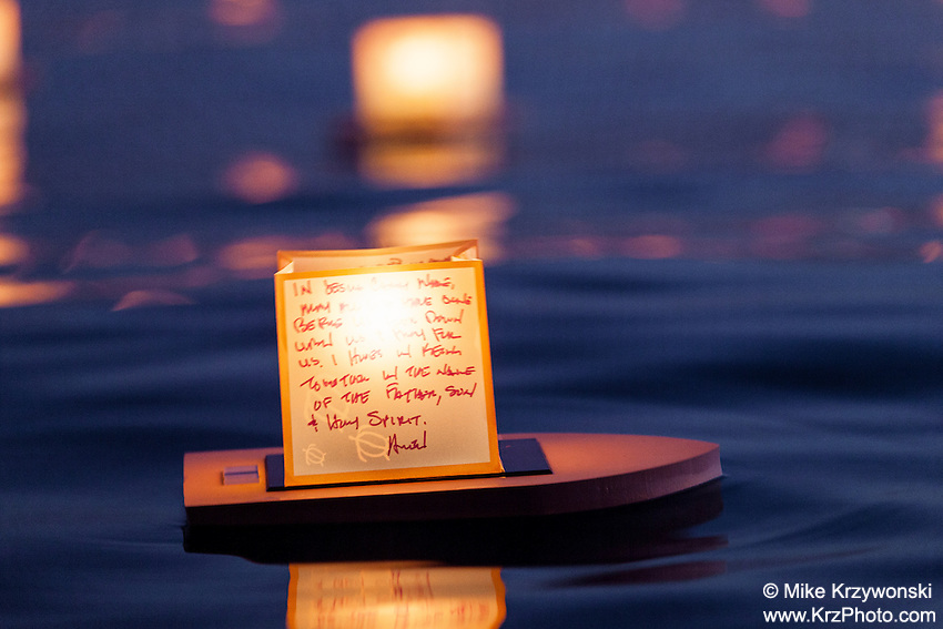 Close-up view of lantern floating in the water during the 15th Annual Lantern Floating Ceremony at Ala Moana Beach Park in Honolulu on Memorial Day