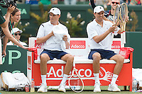 March 5, 2016: Mike and Bob Bryan of USA after winning the doubles match against Lleyton Hewitt and John Peers of Australia at the BNP Paribas Davis Cup World Group first round tie between Australia and USA at Kooyong tennis club in Melbourne, Australia. Photo Sydney Low