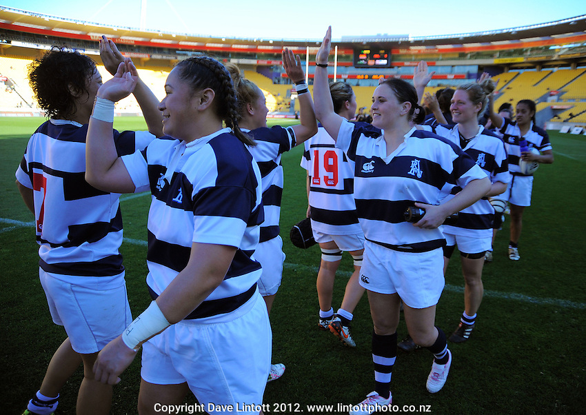 Auckland players high five after the Women's Provincial Championship rugby match between Wellington Pride and Auckland Storm at Westpac Stadium, Wellington on Saturday, 29 September 2012. Photo: Dave Lintott / lintottphoto.co.nz
