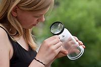 Mädchen, Kind bastelt eine Becherlupe, Beobachtungsgefäß aus 2 durchsichtigen Plastikbecher, einem Stück Styropor und Frischhaltefolie. Fertiges Beobachtungsgefäß: Gefangenes Tierchen, Insekt befindet sich unverletzt zwischen dem weichen Styropor und der dehnfähigen Frischhaltefolie der ineinander gestülpten beiden Plastikbecher und kann in Ruhe mit einer Lupe betrachtet werden