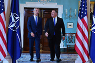 Washington, DC - September 13, 2018: U.S. Secretary of State Michael Pompeo meets with NATO Secretary General Jens Stoltenberg at the Department of State in Washington, D.C. September 13, 2018.  (Photo by Don Baxter/Media Images International)