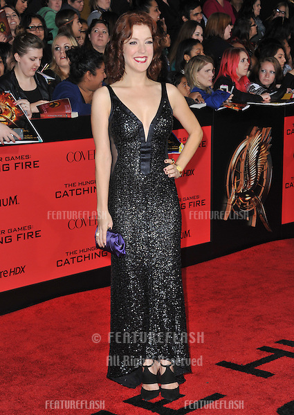 Megan Hayes at the US premiere of her movie &quot;The Hunger Games: Catching Fire&quot; at the Nokia Theatre LA Live.<br /> November 18, 2013  Los Angeles, CA<br /> Picture: Paul Smith / Featureflash