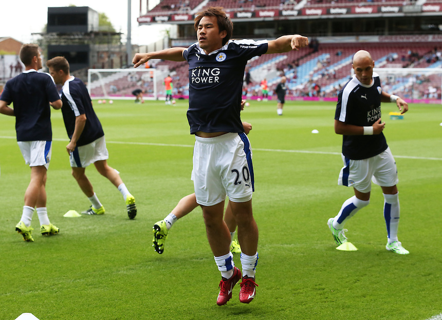 Leicester City's Shinji Okazaki during the pre-match warm-up <br /> Photographer Kieran Galvin/CameraSport<br /> <br /> Football - Barclays Premiership - West Ham United v Leicester City - Saturday 15th August 2015 - Boleyn Ground - London<br /> <br /> &copy; CameraSport - 43 Linden Ave. Countesthorpe. Leicester. England. LE8 5PG - Tel: +44 (0) 116 277 4147 - admin@camerasport.com - www.camerasport.com