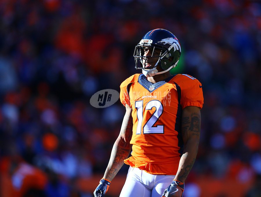 Jan 17, 2016; Denver, CO, USA; Denver Broncos wide receiver Andre Caldwell (12) against the Pittsburgh Steelers during the AFC Divisional round playoff game at Sports Authority Field at Mile High. Mandatory Credit: Mark J. Rebilas-USA TODAY Sports