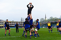 Rhys Davies of Bath United wins the ball at a lineout during the pre-match warm-up. Premiership Rugby Shield match, between Bath United and Gloucester United on April 8, 2019 at the Recreation Ground in Bath, England. Photo by: Patrick Khachfe / Onside Images