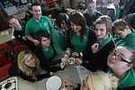 Careers Wales.Pupils at Mountain Ash Comprehensive School getting stuck in to a dessert made by Chef Massimo Bishop-Scotti during a cookery demonstration at the school...07.03.12.©STEVE POPE
