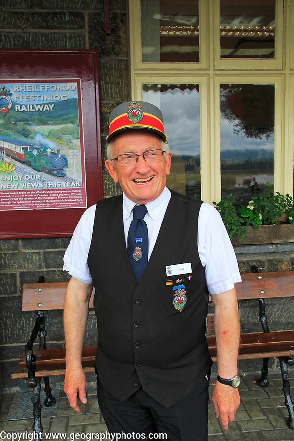 Station master at Ffestiniog and Welsh Highland Railway station, Porthmadog, Gwynedd, north west Wales, UK