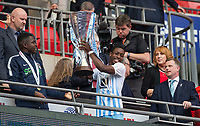 Watford Loanee Michael Folivi of Coventry City lifts the Trophy as Coventry City Manager Mark Robins (right) looks on during the The Checkatrade Trophy / EFL Trophy FINAL match between Oxford United and Coventry City at Wembley Stadium, London, England on 2 April 2017. Photo by Andy Rowland.