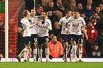 Tottenham celebrate their second goal - Liverpool vs. Tottenham Hotspurs - Barclay's Premier League - Anfield - Liverpool - 10/02/2015 Pic Philip Oldham/Sportimage