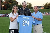 Piscataway, NJ - Sunday Sept. 25, 2016: Kelly Conheeney, Anthony Daniels, Tony Novo during a regular season National Women's Soccer League (NWSL) match between Sky Blue FC and the Portland Thorns FC at Yurcak Field.