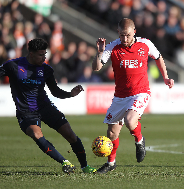 Fleetwood Town's   battles with Luton Town's Pelly Ruddock <br /> <br /> Photographer Mick Walker/CameraSport<br /> <br /> The EFL Sky Bet League One - Fleetwood Town v Luton Town - Saturday 16th February 2019 - Highbury Stadium - Fleetwood<br /> <br /> World Copyright © 2019 CameraSport. All rights reserved. 43 Linden Ave. Countesthorpe. Leicester. England. LE8 5PG - Tel: +44 (0) 116 277 4147 - admin@camerasport.com - www.camerasport.com