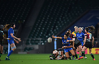 28th December 2019; Twickenham, London, England; Big Game 12 Womens Rugby, Harlequins versus Leinster; Sene Naoupu of Leinster offloads out of the tackle to Aoife McDermott of Leinster - Editorial Use