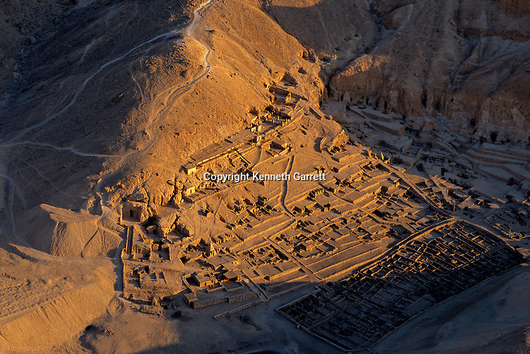 Egypt's Valley of the Kings, Deir al-Medina sprawls across the desert near the Valley of the Kings, home of the workers who built the necropolis, Egypt