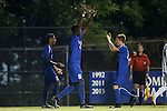 27 September 2016: Duke's Cameron Moseley (6) celebrates his goal with Bryson Asher (right) and Suniel Veerakone (left). The Duke University Blue Devils hosted the Georgia State University Panthers at Koskinen Stadium in Durham, North Carolina in a 2016 NCAA Division I Men's Soccer match. Georgia State won the game 2-1 in two overtimes.