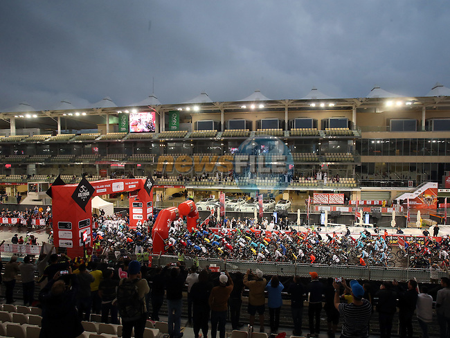 The start of Stage 4 Yas Island Stage of the 2017 Abu Dhabi Tour, 143km with 26 laps of 5.5km of the Yas Marina Circuit, Abu Dhabi. 26th February 2017<br /> Picture: ANSA/Matteo Bazzi   Newsfile<br /> <br /> <br /> All photos usage must carry mandatory copyright credit (&copy; Newsfile   ANSA)