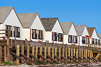 Beachfront rental cottages, Truro, Cape Cod, Massachusetts, USA.