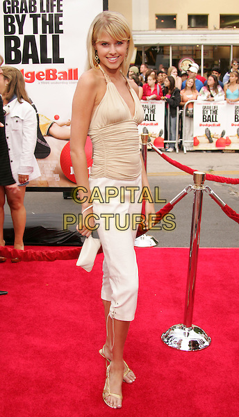 "SARAH WRIGHT.The World Premiere of ""Dodgeball:A True Underdog Story"", Westwood, California.June 14th, 2004.full length, full-length, white three quarter length trousers, beige halterneck.www.capitalpictures.com.sales@capitalpictures.com.©Capital Pictures"