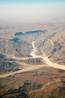 Aerial views of mountainous region on the Arabien Peninsula near Sana'a, Yemen