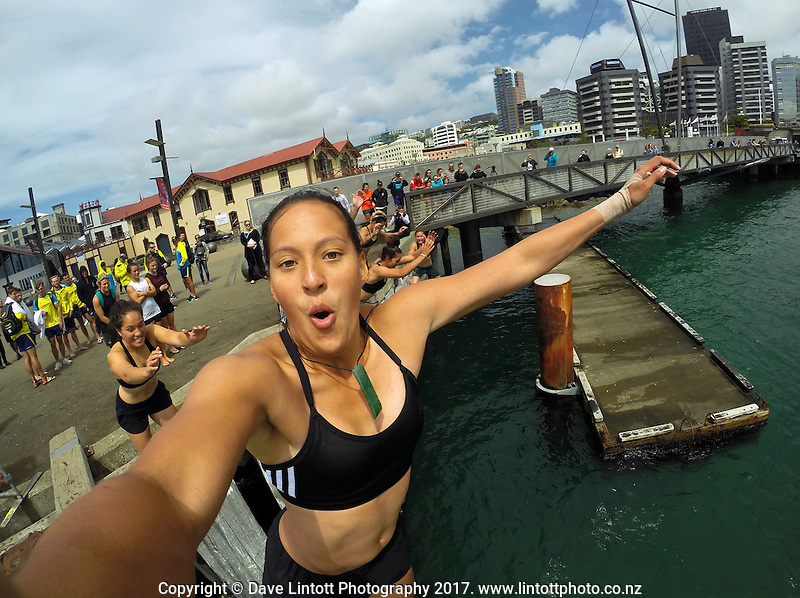 Black Ferns Sevens' Tyla Nathan-Wong leaps from the pier during the Sevens celebration week Wharf Jump on Wellington harbour waterfront in Wellington, New Zealand on Friday, 27 January 2017. Photo: Tyla Nathan-Wong / lintottphoto.co.nz