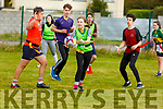 Ellen Collins from Killorglin Community College about to lay of the ball in the KETB Schools Senior Cycle Tag Rugby blitz in the Kerry Sports and Leisure Centre, Tralee on Monday.