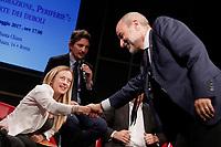Giorgia Meloni e Massimo Gandolfini<br /> Roma 10/05/2017. Convegno 'Sicurezza, Immigrazione, Periferie: dalla parte dei deboli'<br /> Rome 10th May 2017. Convention of the right wing parties.<br /> Foto Samantha Zucchi Insidefoto