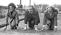 Ready, steady, go! Three new members of the N Ireland Sports Council get on their marks at the front of Parliament Buildings, Stormont, Belfast. L to R - Maeve Kyle, twice an Olympics participant and sports administrator, Ivan Cooper, SDLP assemblyman, and Olympic gold medallist Mary Peters. 197403080148.<br /> <br /> Copyright Image from Victor Patterson,<br /> 54 Dorchester Park, Belfast, UK, BT9 6RJ<br /> <br /> t1: +44 28 90661296<br /> t2: +44 28 90022446<br /> m: +44 7802 353836<br /> <br /> e1: victorpatterson@me.com<br /> e2: victorpatterson@gmail.com<br /> <br /> For my Terms and Conditions of Use go to<br /> www.victorpatterson.com