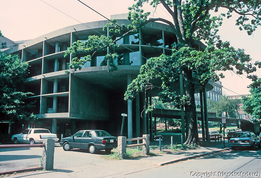 Le Corbusier: Carpenter Center. East, rear, entrance--Prescott St.