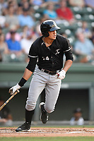 Left fielder Antonio Rodriguez (14) of the Kannapolis Intimidators bats in a game against the Greenville Drive on Friday, July 14, 2017, at Fluor Field at the West End in Greenville, South Carolina. Greenville won, 2-0. (Tom Priddy/Four Seam Images)