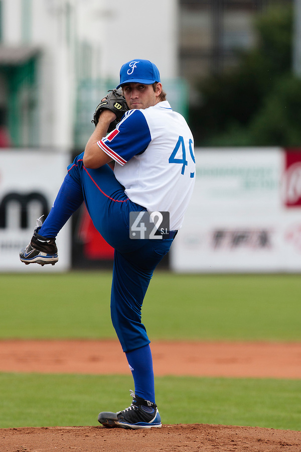 19 August 2010: Thomas Dourlens of Team France pitches against Slovakia during France 7-6 win over Slovakia, at the 2010 European Championship, under 21, in Brno, Czech Republic.
