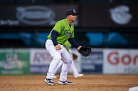 Kane County Cougars third baseman Buddy Kennedy (7) during a Midwest League game against the Cedar Rapids Kernels at Northwestern Medicine Field on April 28, 2019 in Geneva, Illinois. Cedar Rapids defeated Kane County 3-2 in game two of a doubleheader. (Zachary Lucy/Four Seam Images)