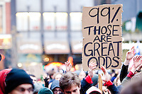 Thousands of protesters gather in Union Square as part of a day of protests celebrating the two month anniversary of the Occupy Wall Street movement, on November 17, 2011 in New York City.